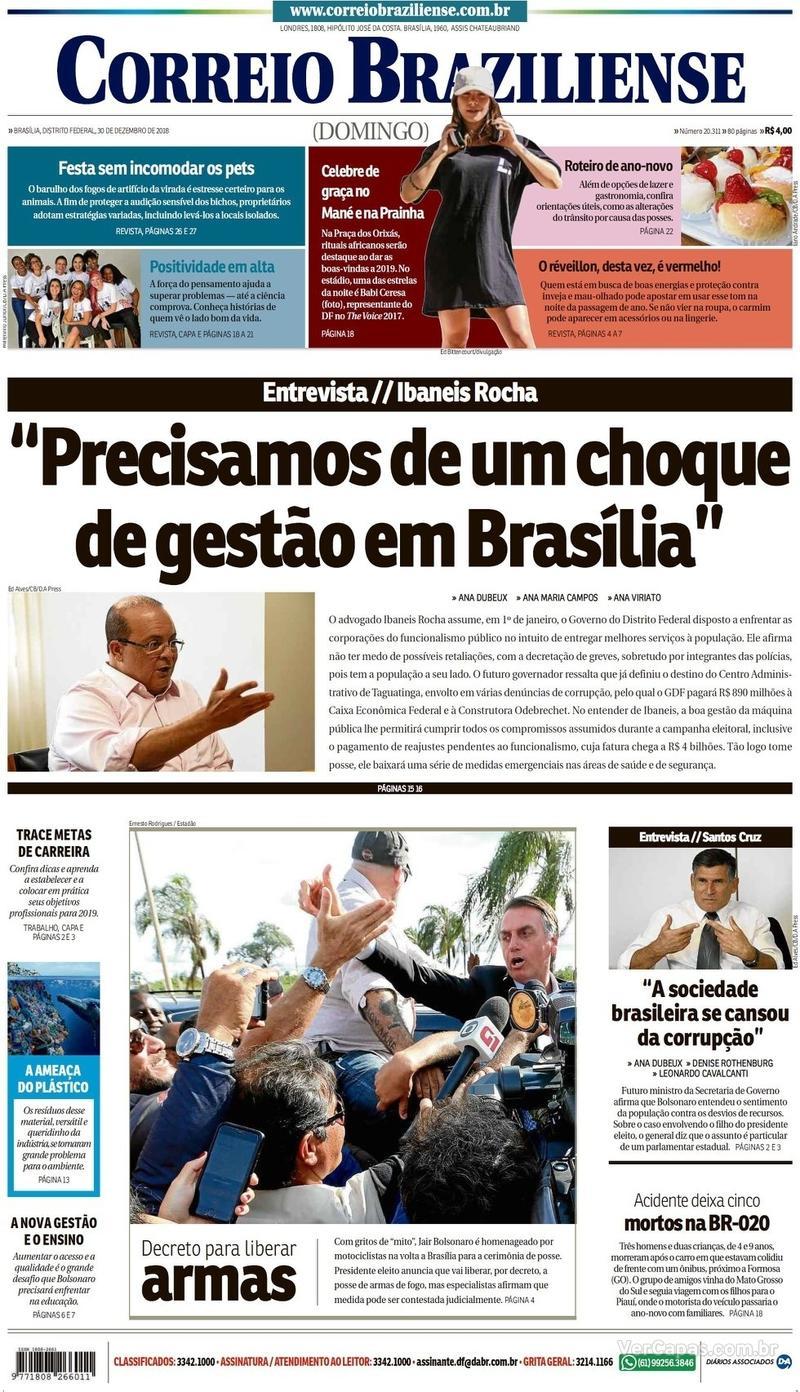 Capa Correio Braziliense 2018-12-30