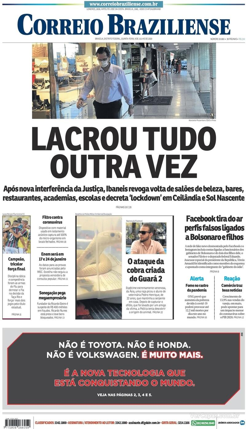 Capa do jornal Correio Braziliense 09/07/2020