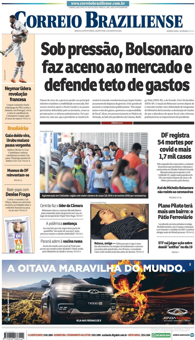 Capa do jornal Correio Braziliense 13/08/2020