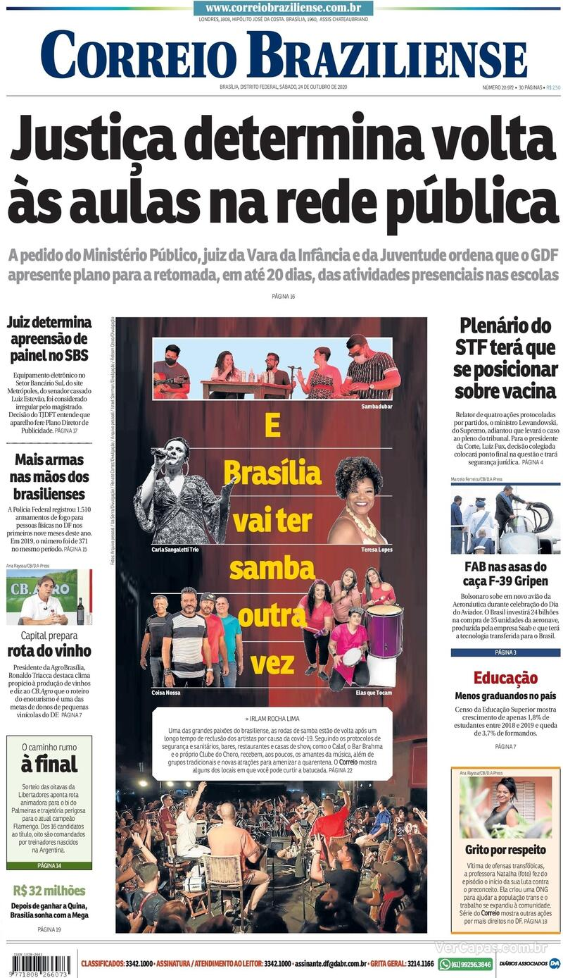 Capa do jornal Correio Braziliense 24/10/2020