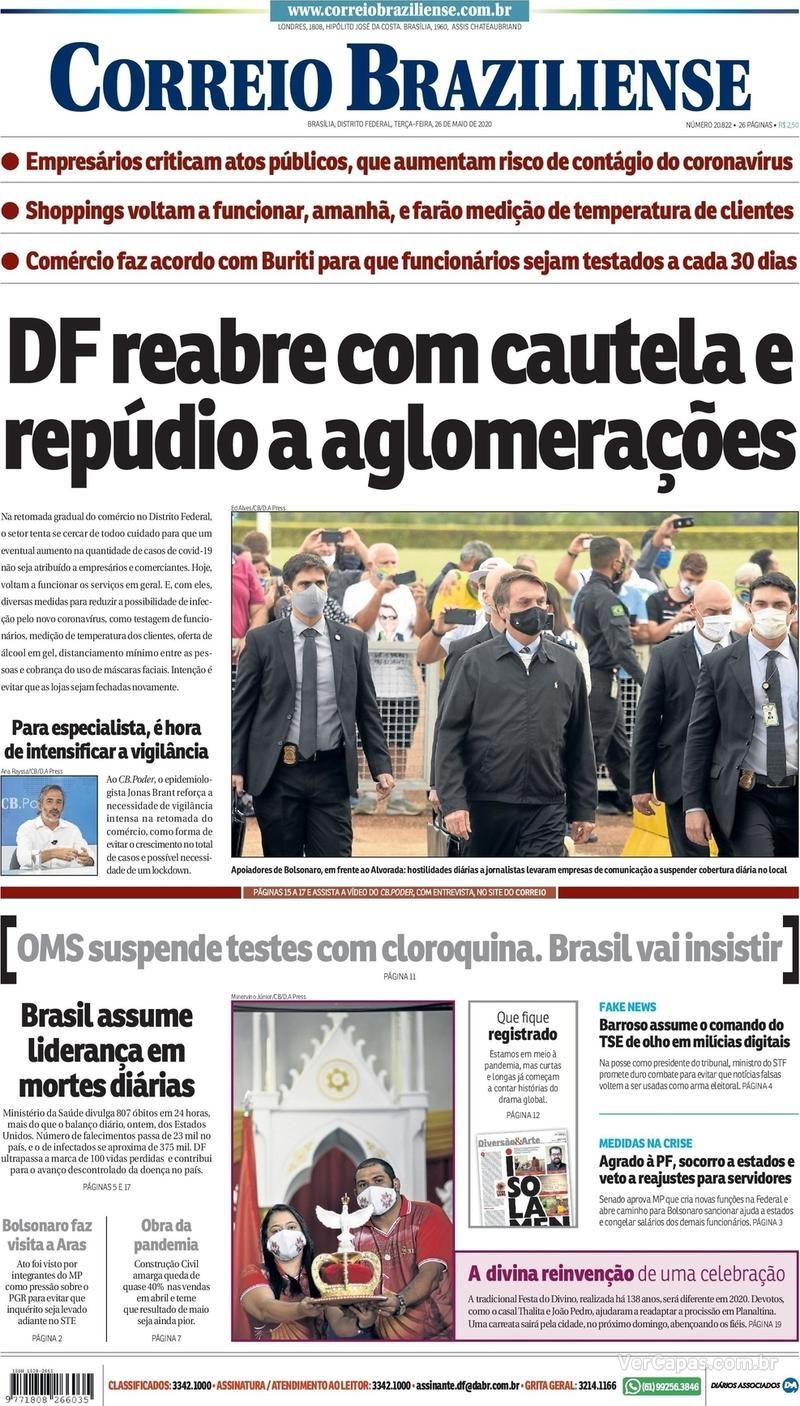 Capa do jornal Correio Braziliense 26/05/2020
