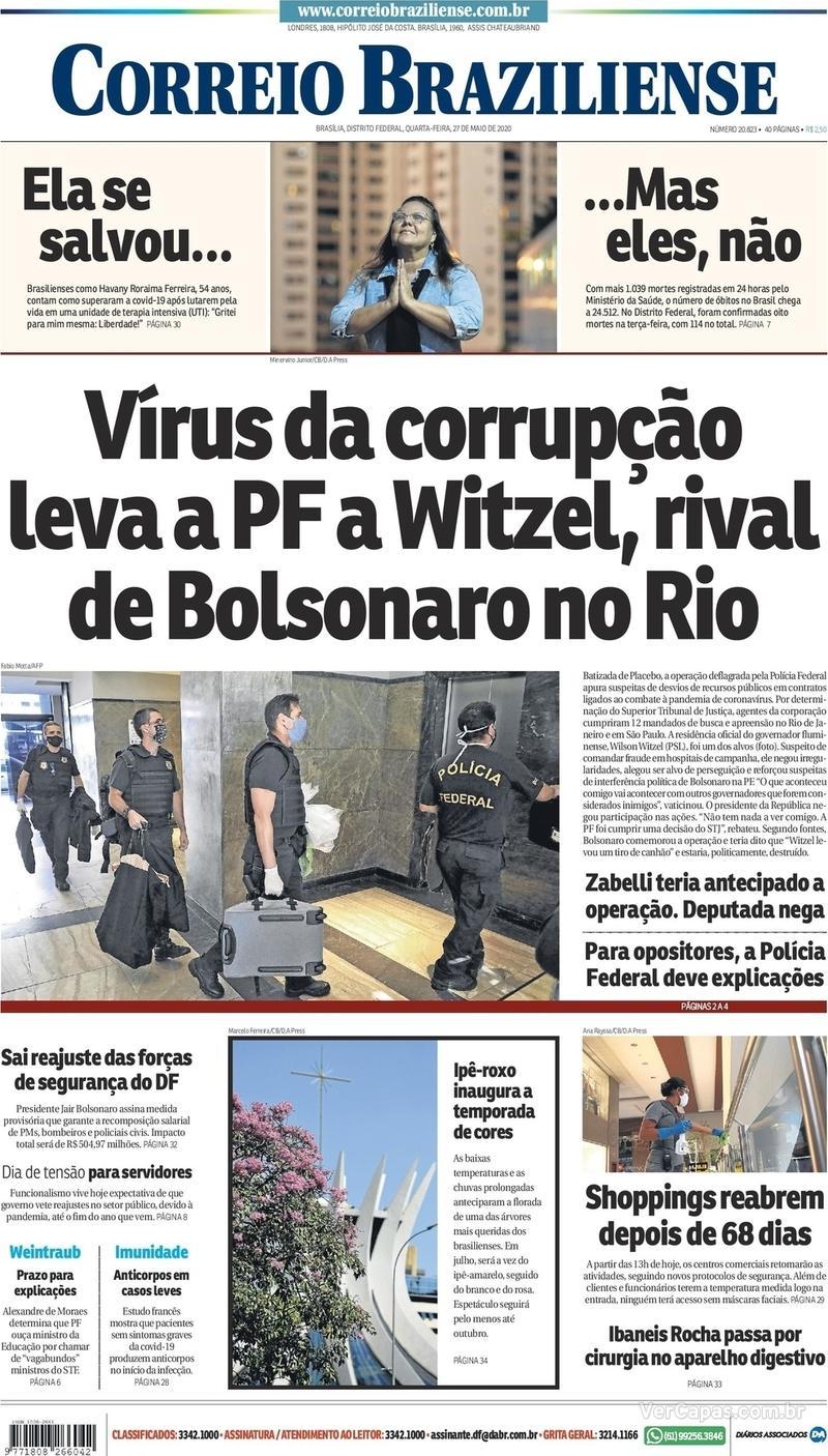 Capa do jornal Correio Braziliense 27/05/2020