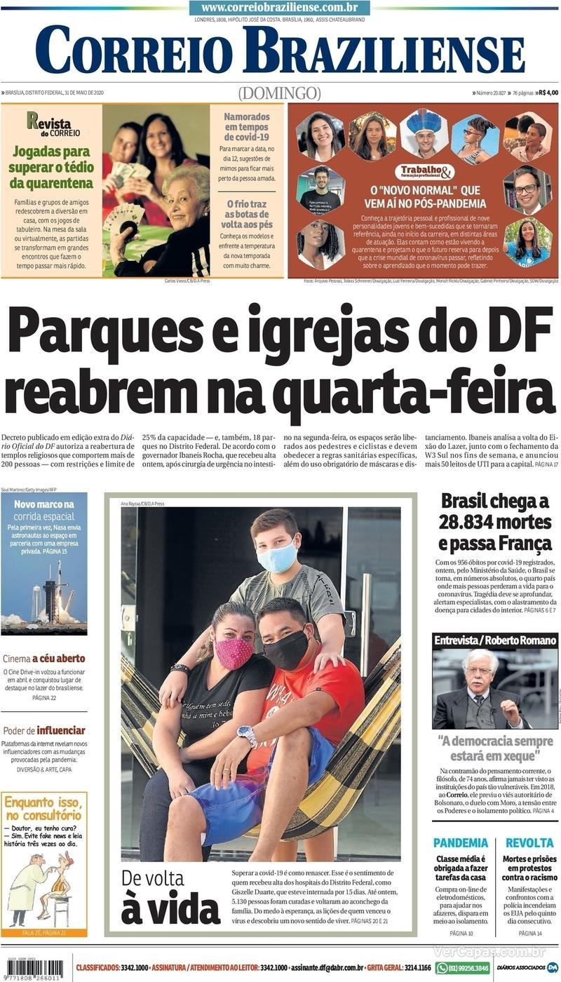 Capa do jornal Correio Braziliense 31/05/2020