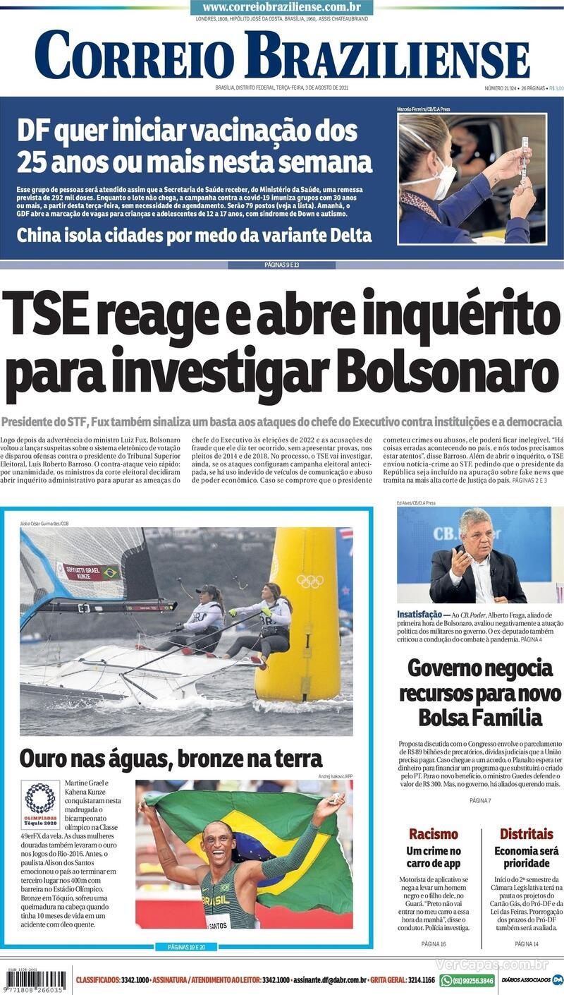 Capa do jornal Correio Braziliense 03/08/2021