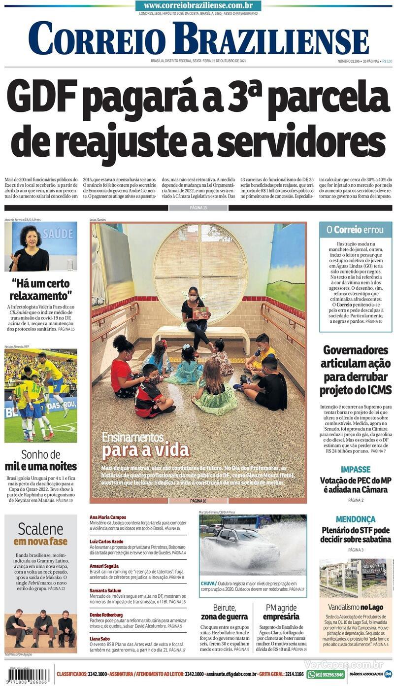 Capa do jornal Correio Braziliense 15/10/2021