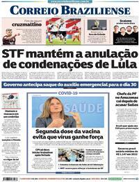 Capa do jornal Correio Braziliense 16/04/2021