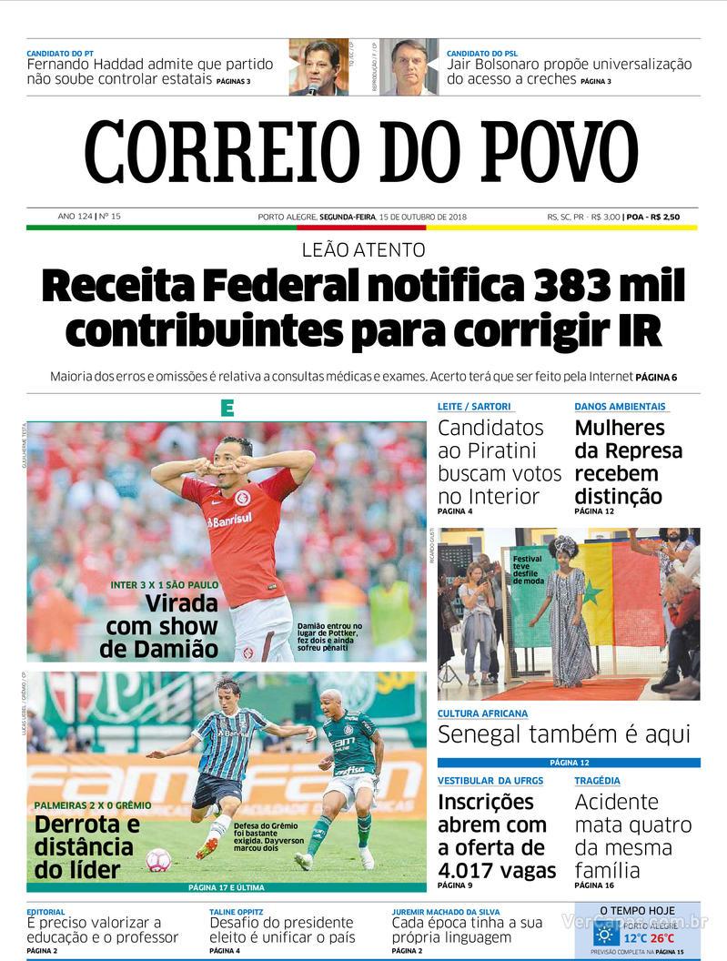 Capa Correio do Povo 2018-10-15