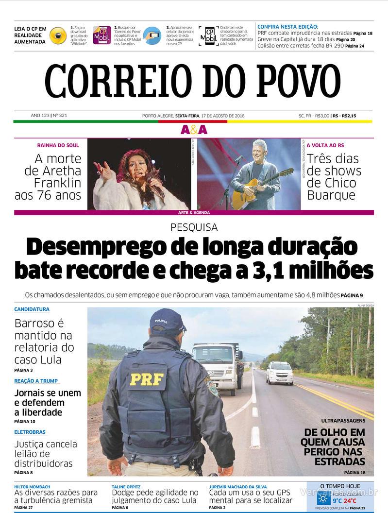 Capa Correio do Povo 2018-08-17