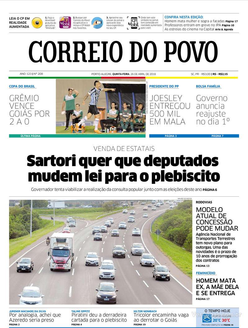 Capa Correio do Povo 2018-04-26