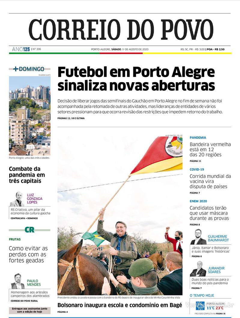 Capa do jornal Correio do Povo 01/08/2020