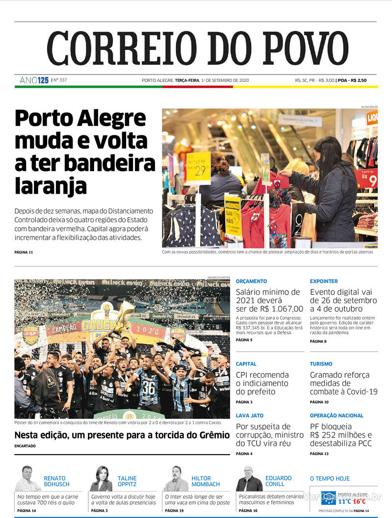 Capa do jornal Correio do Povo 01/09/2020