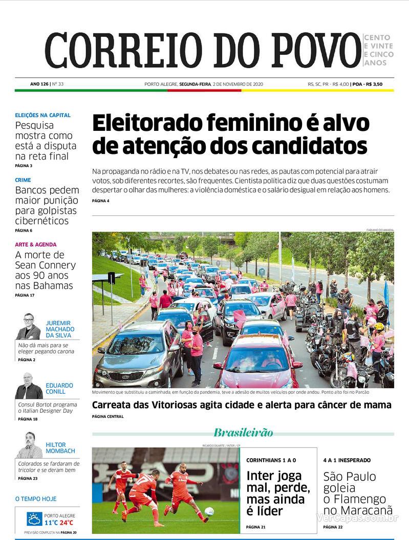 Capa do jornal Correio do Povo 02/11/2020