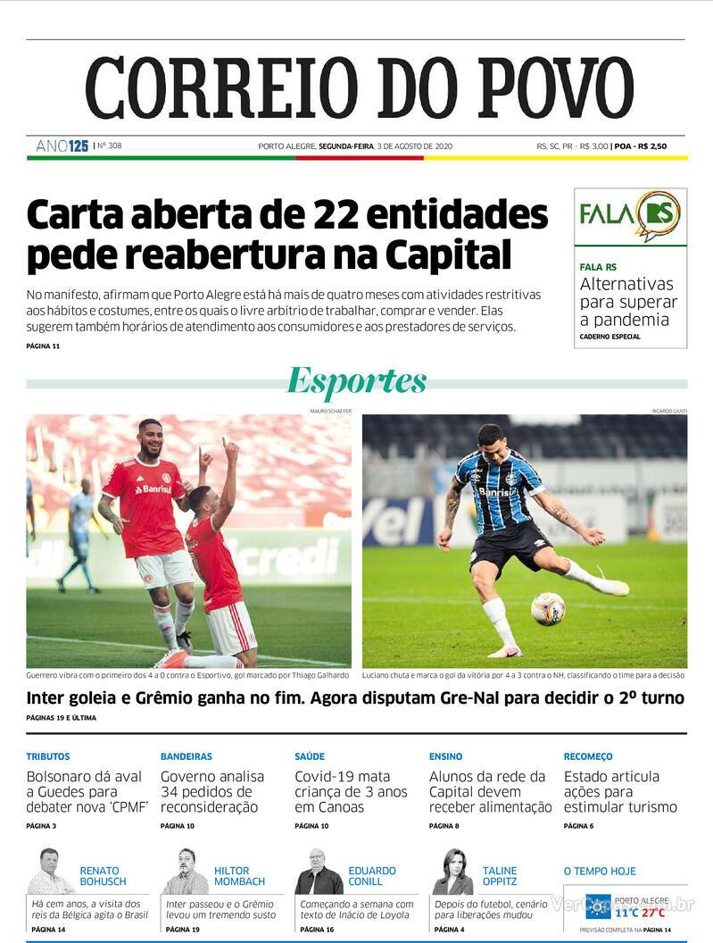 Capa do jornal Correio do Povo 03/08/2020