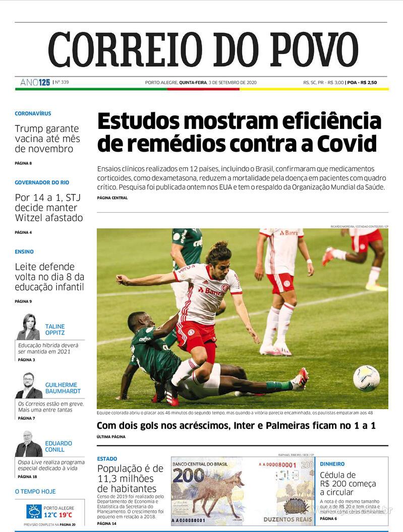 Capa do jornal Correio do Povo 03/09/2020