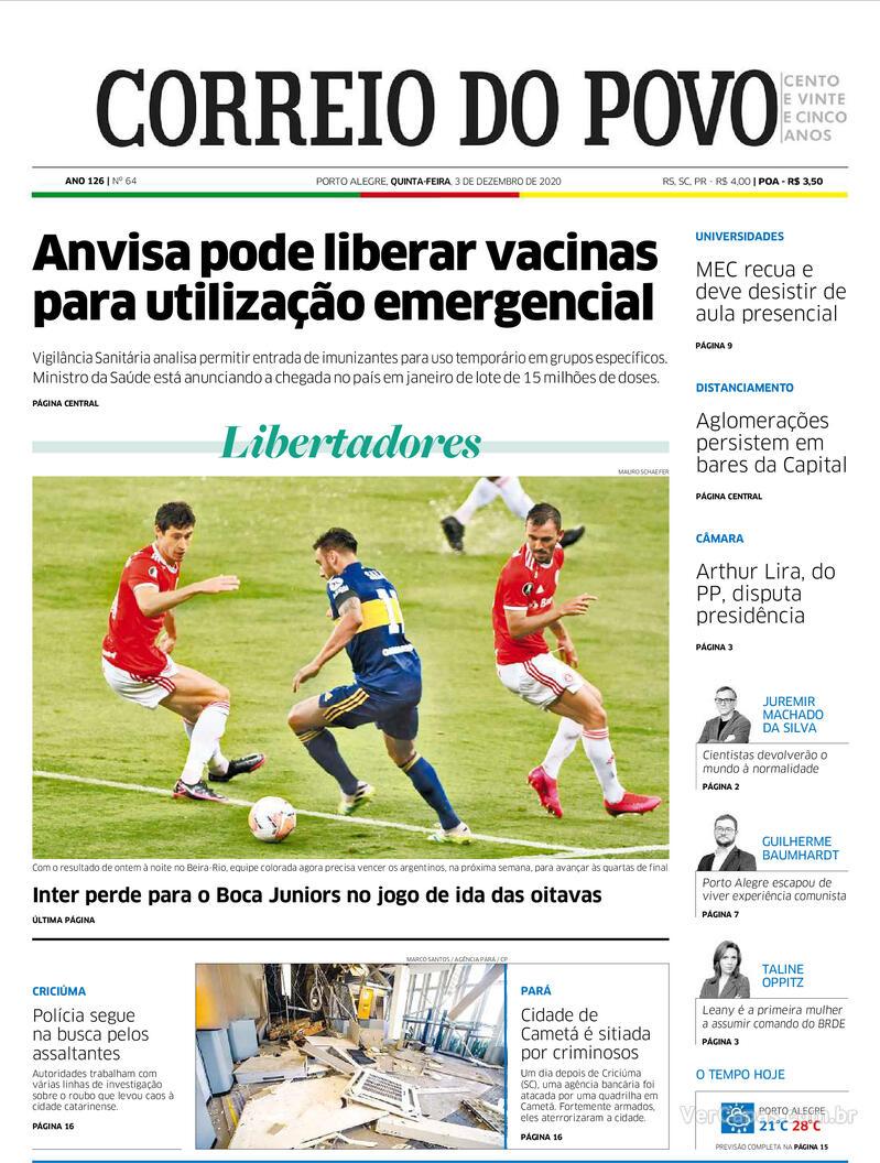 Capa do jornal Correio do Povo 03/12/2020