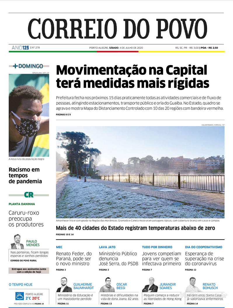 Capa do jornal Correio do Povo 04/07/2020