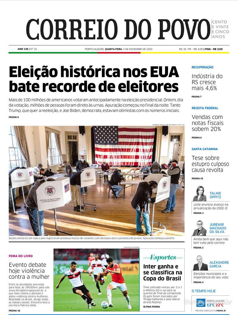 Capa do jornal Correio do Povo 04/11/2020