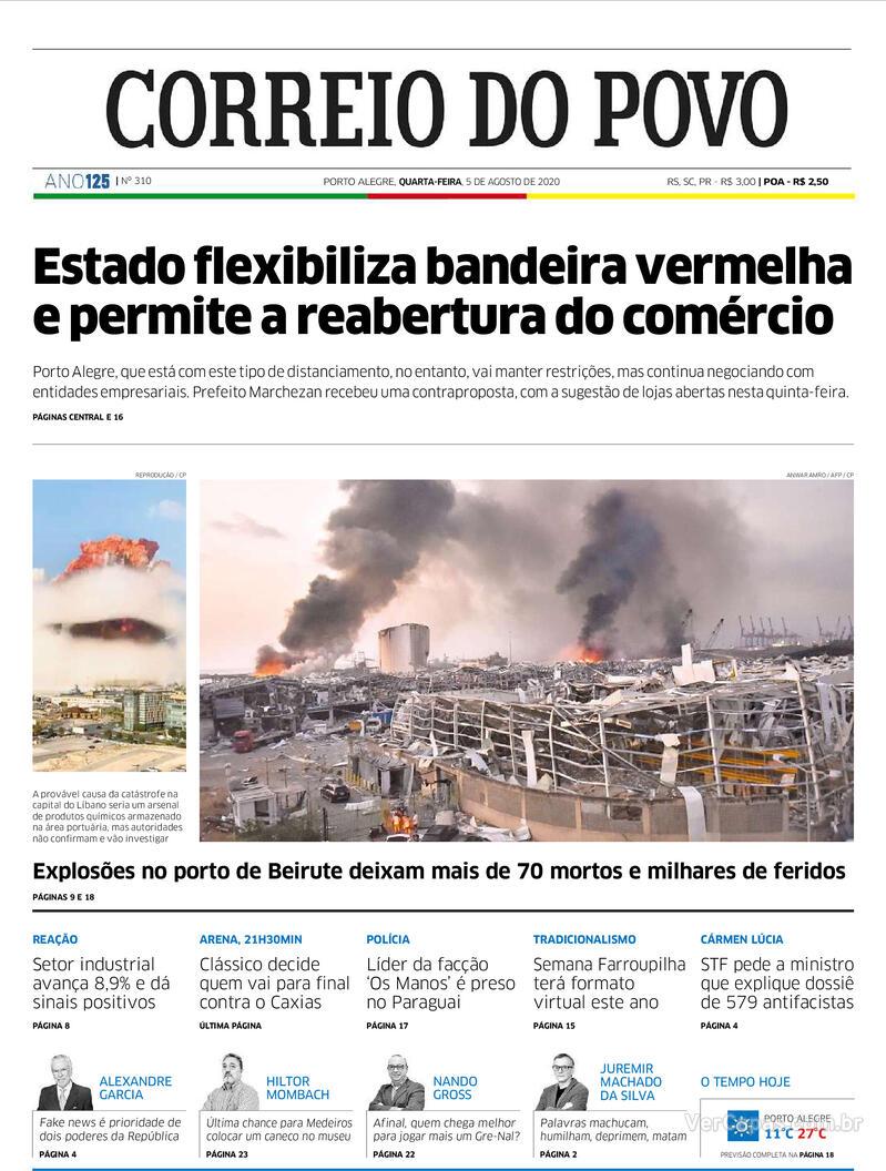 Capa do jornal Correio do Povo 05/08/2020