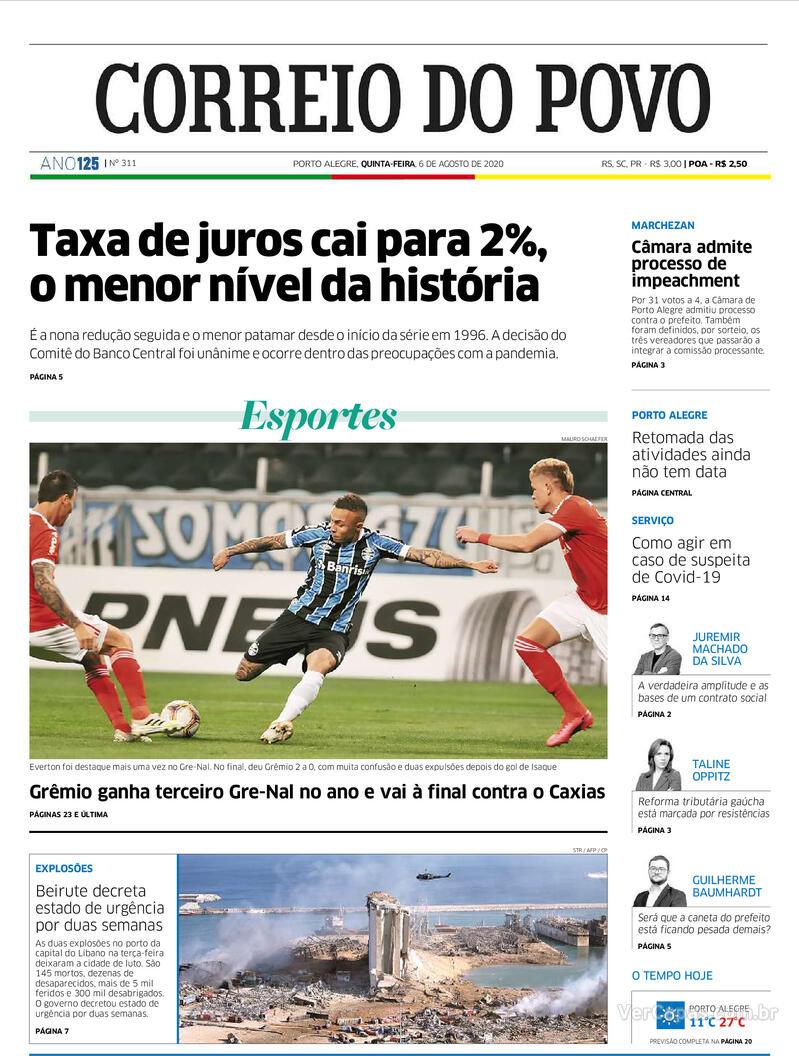 Capa do jornal Correio do Povo 06/08/2020