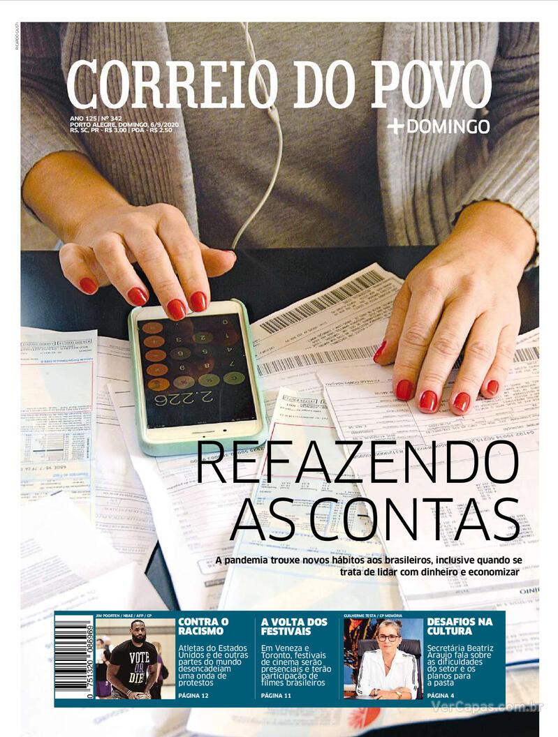 Capa do jornal Correio do Povo 06/09/2020