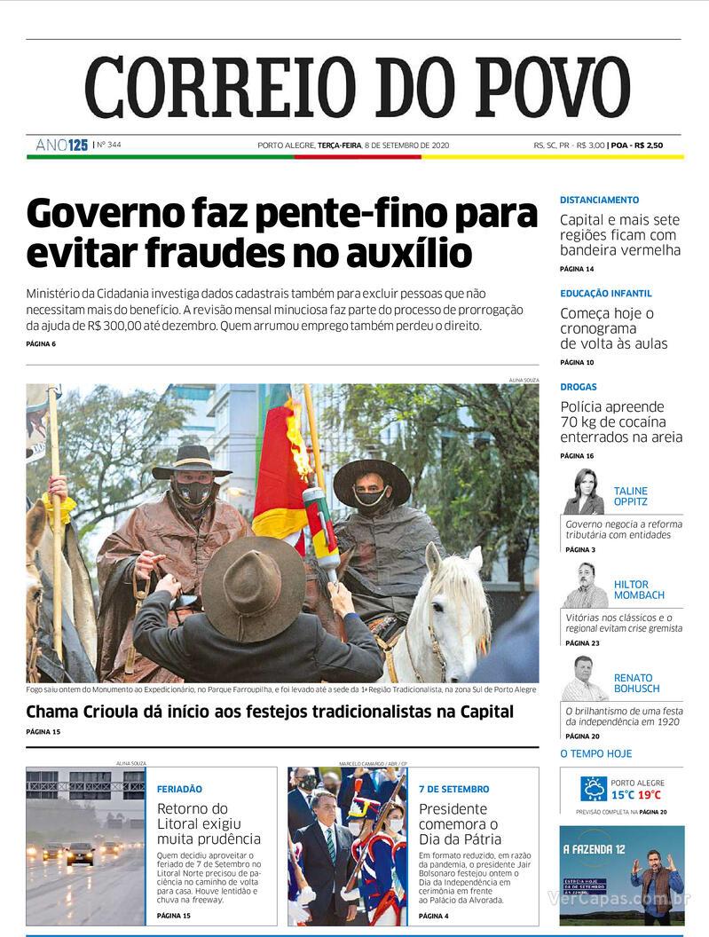 Capa do jornal Correio do Povo 08/09/2020