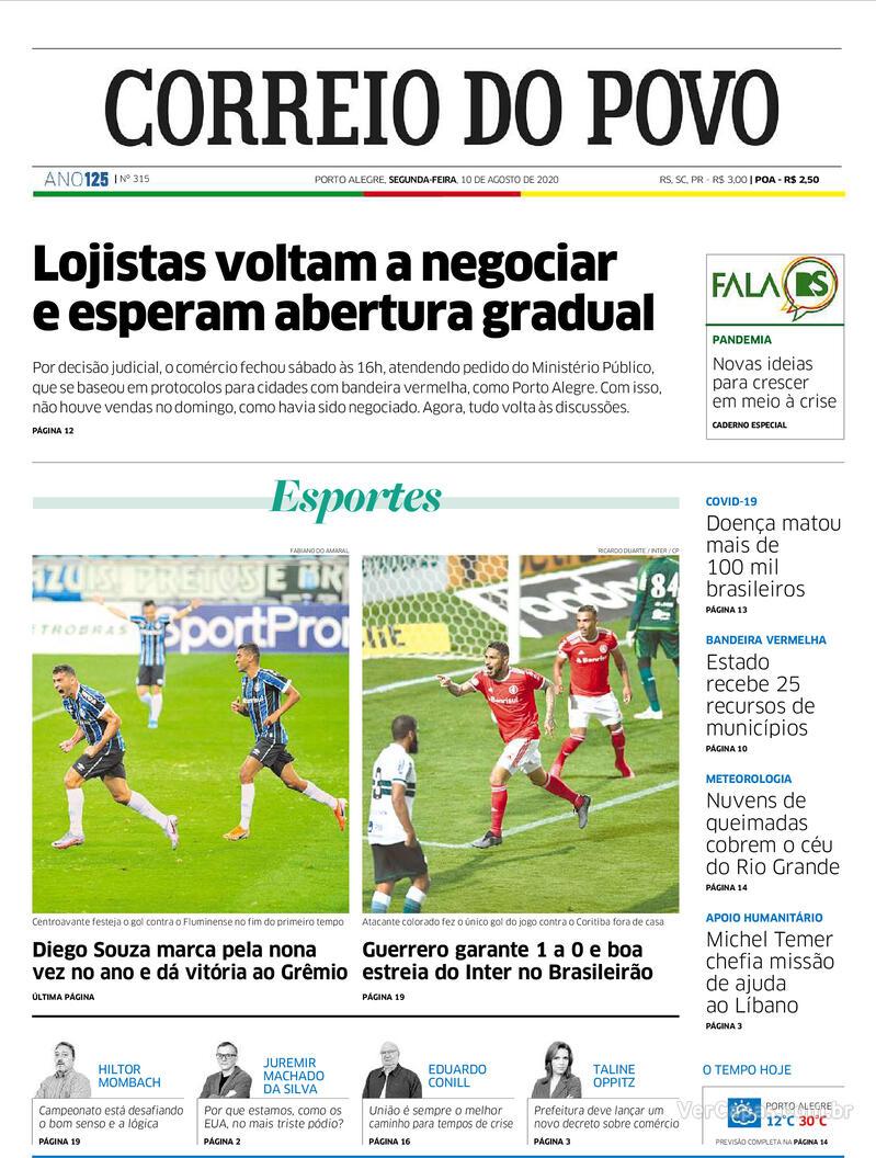Capa do jornal Correio do Povo 10/08/2020