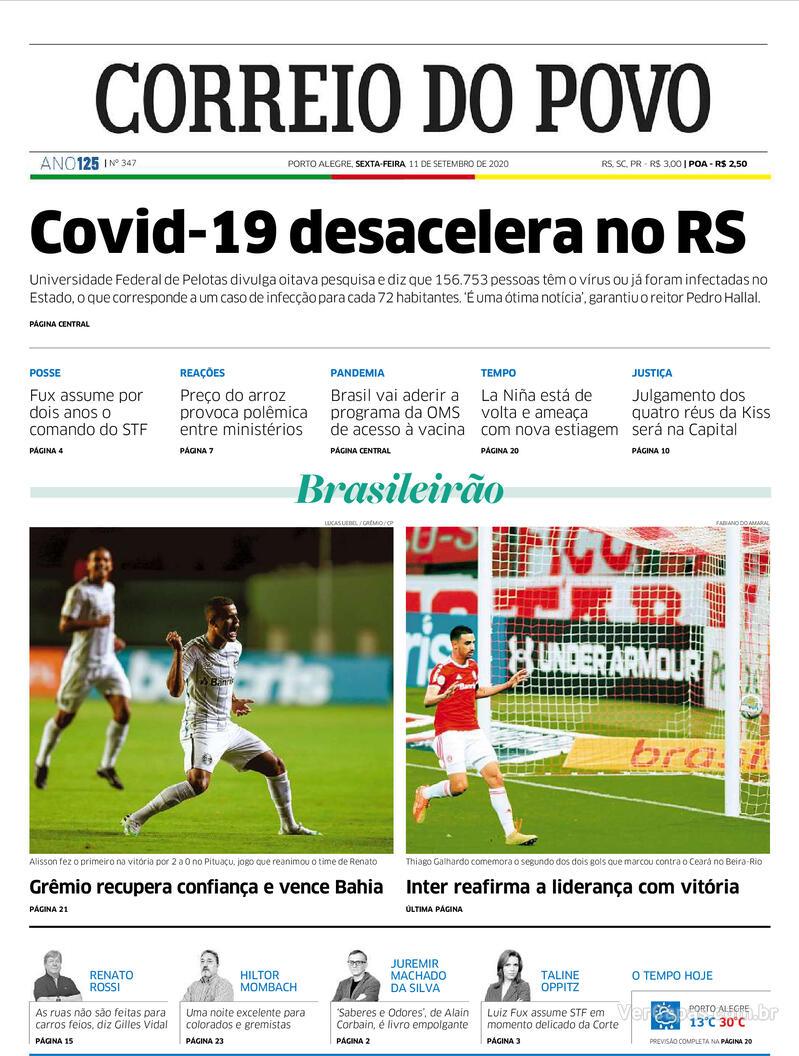 Capa do jornal Correio do Povo 11/09/2020