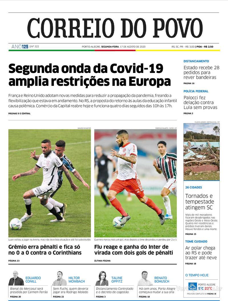 Capa do jornal Correio do Povo 17/08/2020