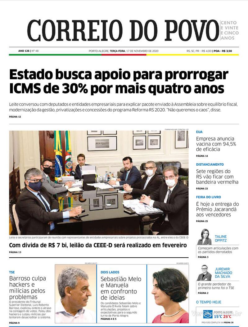 Capa do jornal Correio do Povo 17/11/2020