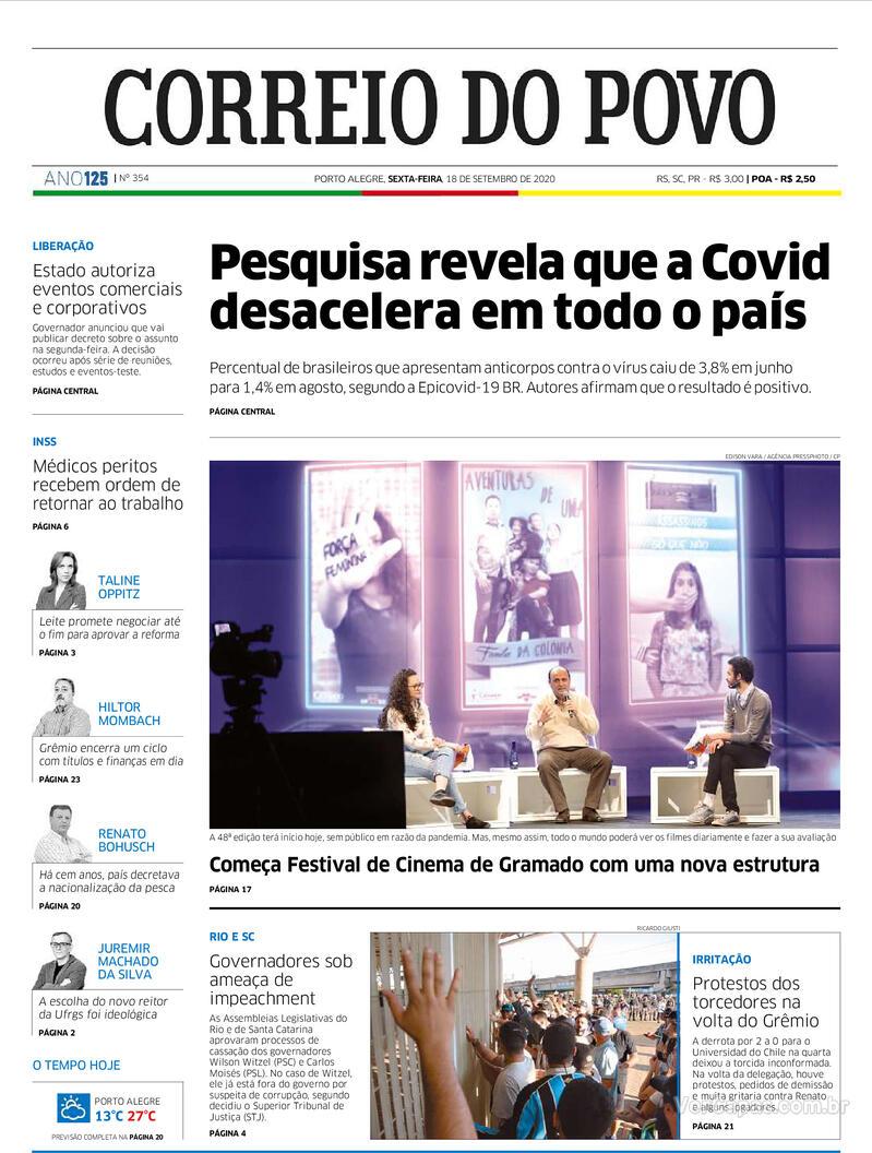 Capa do jornal Correio do Povo 18/09/2020