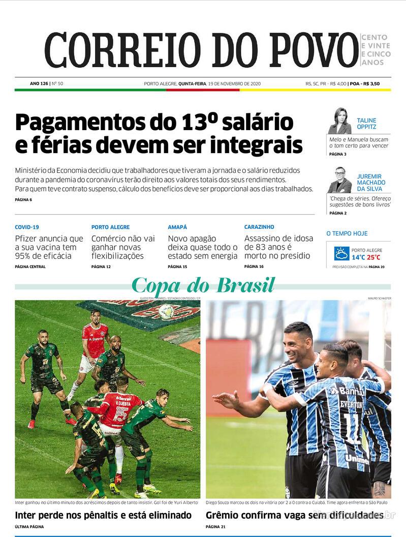 Capa do jornal Correio do Povo 19/11/2020