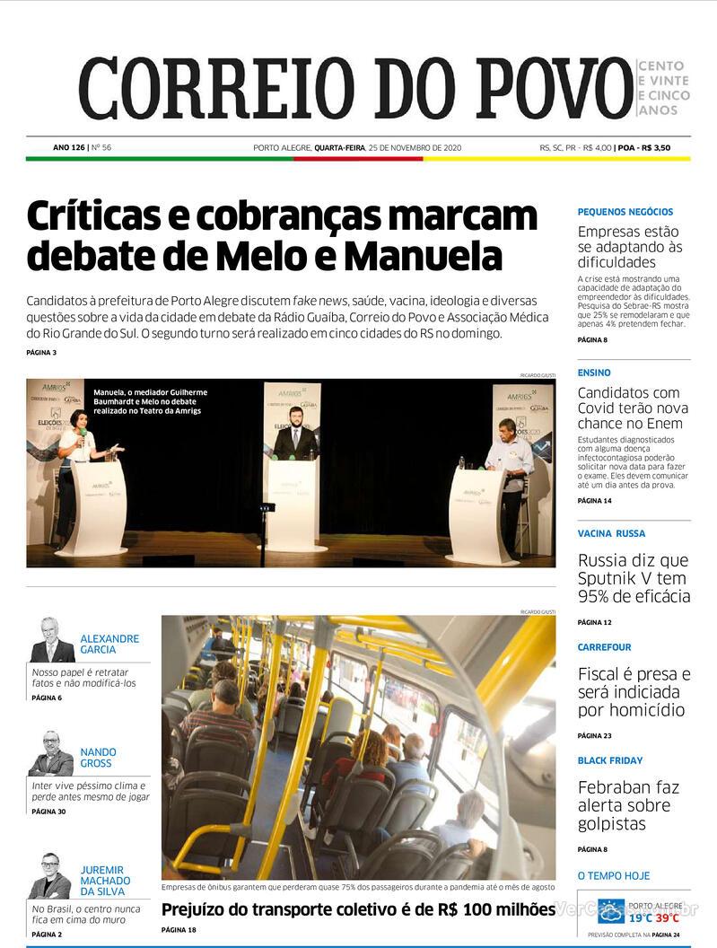 Capa do jornal Correio do Povo 25/11/2020