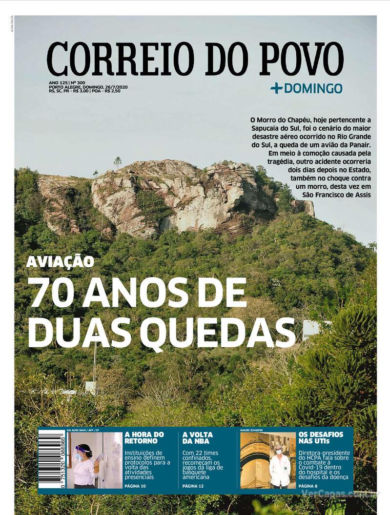 Capa do jornal Correio do Povo 26/07/2020