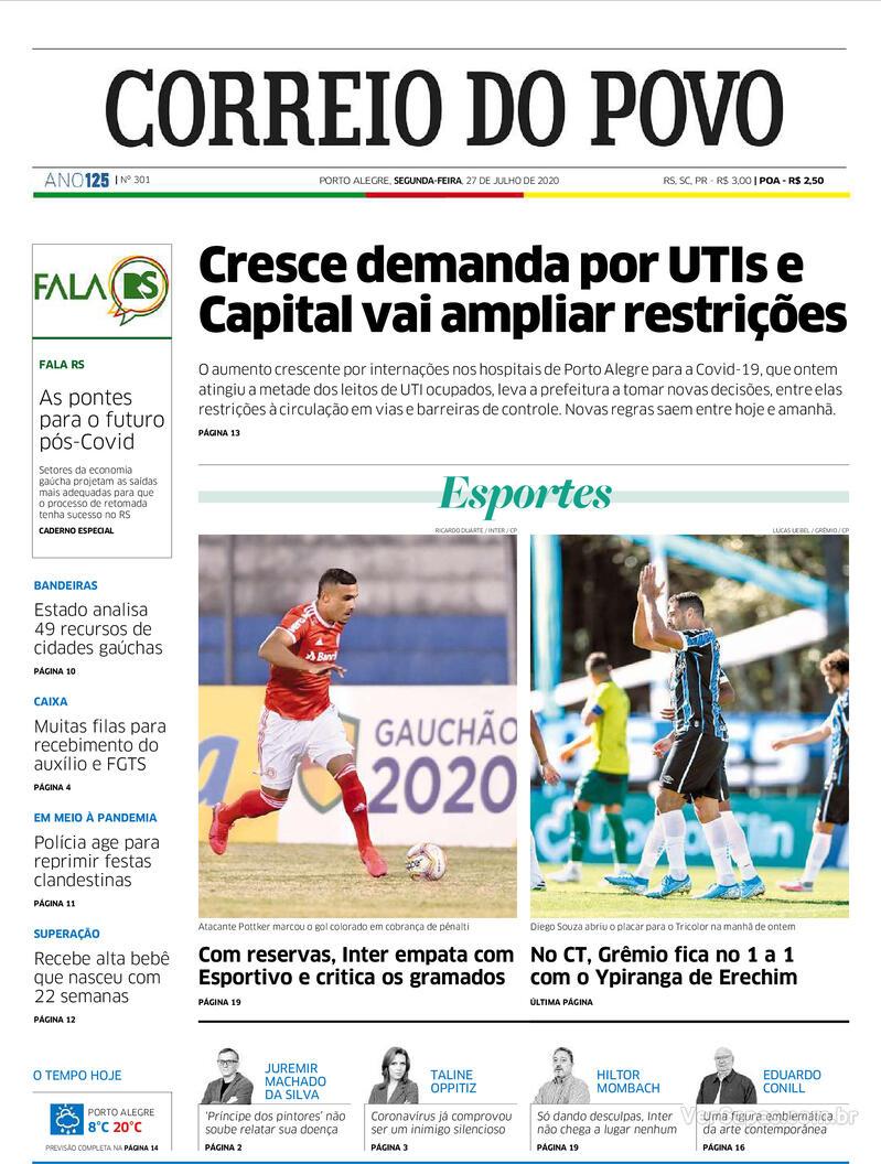 Capa do jornal Correio do Povo 27/07/2020