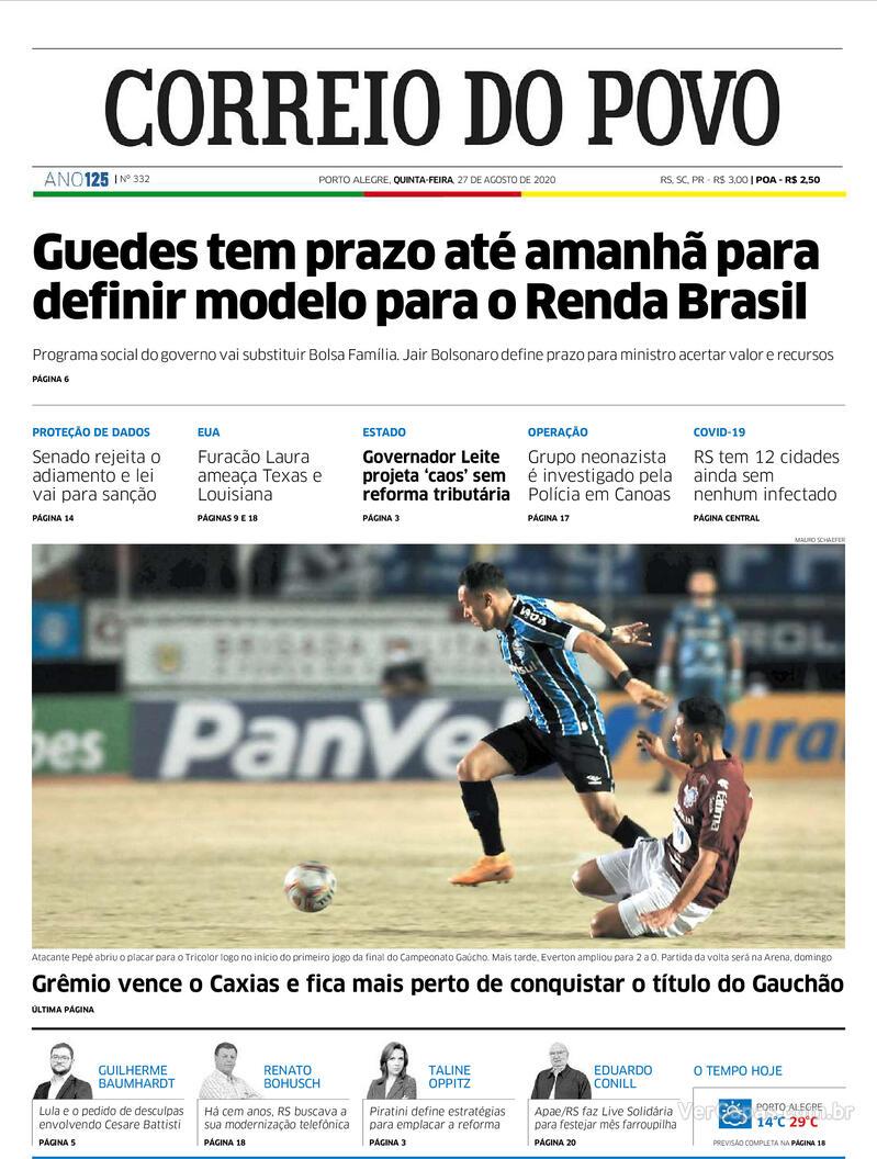 Capa do jornal Correio do Povo 27/08/2020