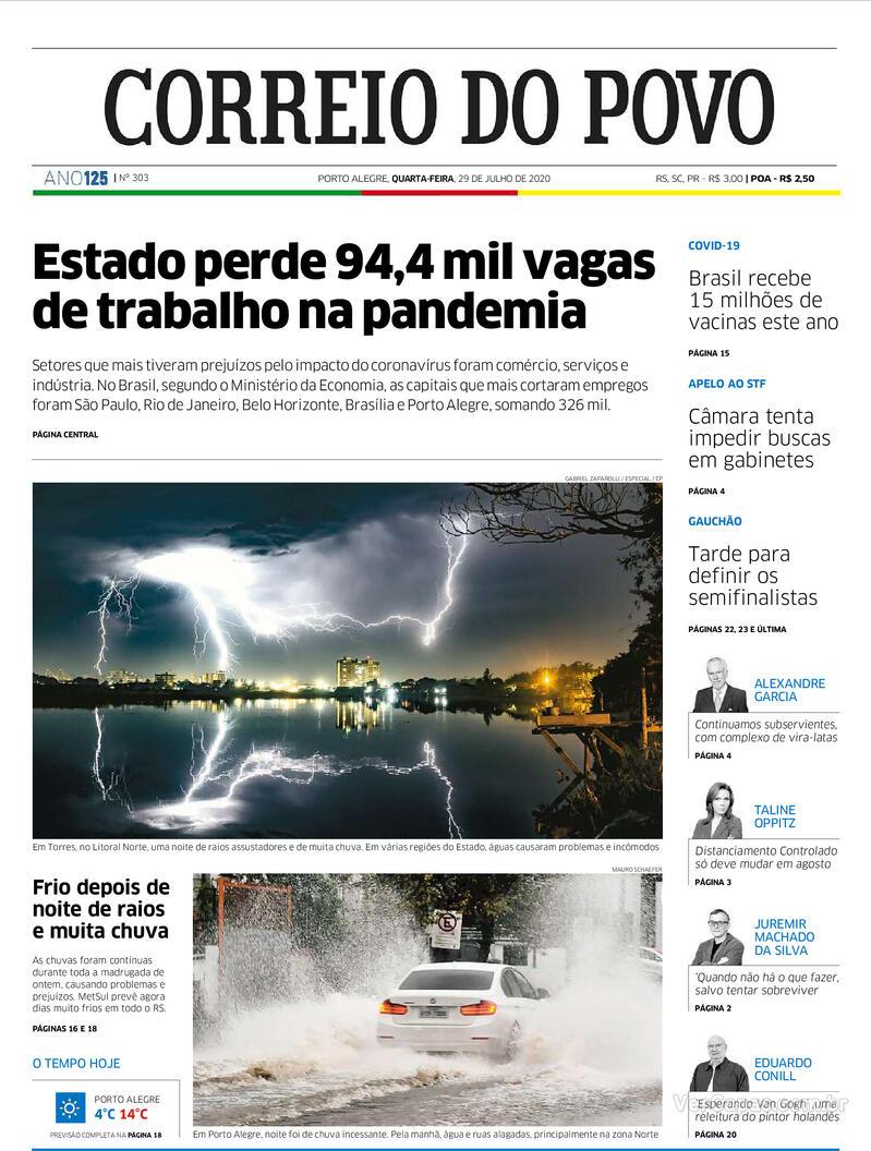 Capa do jornal Correio do Povo 29/07/2020