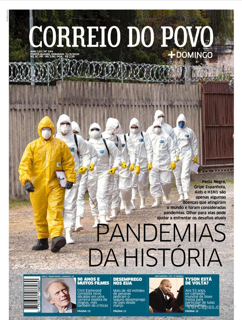 Capa do jornal Correio do Povo 31/05/2020