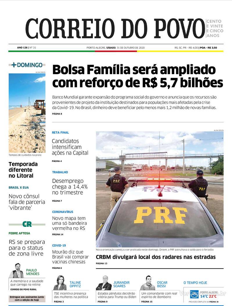 Capa do jornal Correio do Povo 31/10/2020
