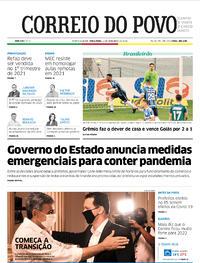 Capa do jornal Correio do Povo 01/12/2020