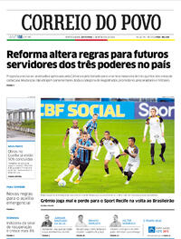 Capa do jornal Correio do Povo 04/09/2020