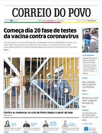 Capa do jornal Correio do Povo 07/07/2020