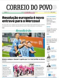 Capa do jornal Correio do Povo 08/10/2020