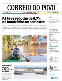 Capa do jornal Correio do Povo 10/07/2020