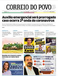 Capa do jornal Correio do Povo 13/11/2020