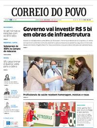 Capa do jornal Correio do Povo 14/08/2020