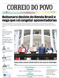 Capa do jornal Correio do Povo 16/09/2020