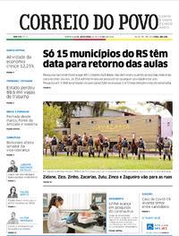 Capa do jornal Correio do Povo 16/10/2020