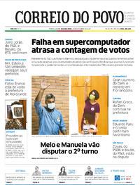 Capa do jornal Correio do Povo 16/11/2020