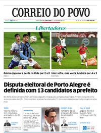 Capa do jornal Correio do Povo 17/09/2020