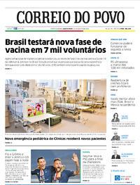 Capa do jornal Correio do Povo 19/08/2020